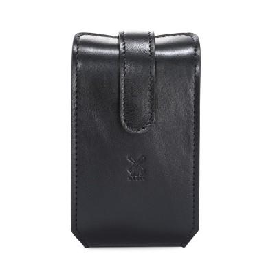 Muehle Дорожный бритвенный набор, чехол из натуральной чёрной кожи, дорожный помазок, Т-образная бритва