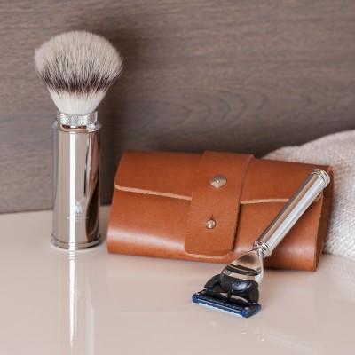 Muehle Дорожный бритвенный набор, чехол из натуральной коричневой кожи, дорожный помазок, дорожная бритва Fusion
