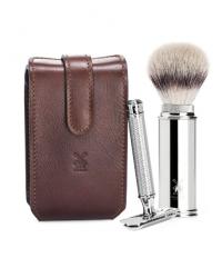 Muehle Дорожный бритвенный набор, чехол из натуральной коричневой кожи, дорожный помазок, Т-образная бритва